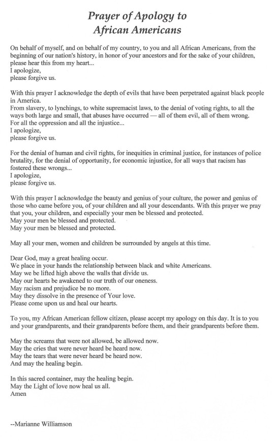Prayer of Apology to African Americans